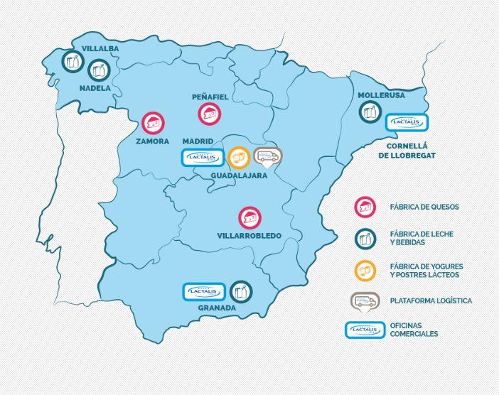 Mapa con las fábricas de Lactalis en España.