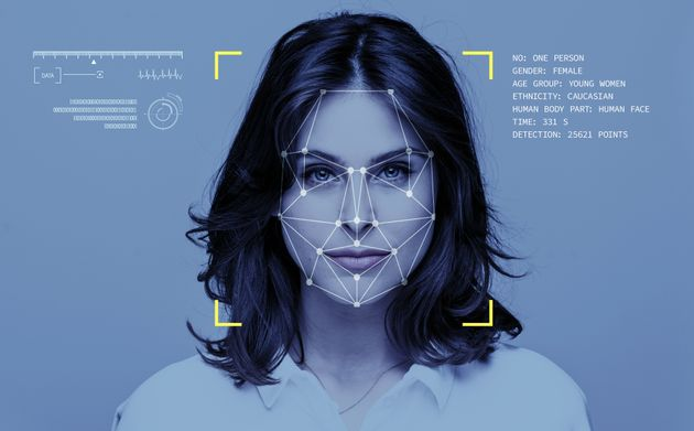 Facial Recognition System, Concept Images. Portrait of young