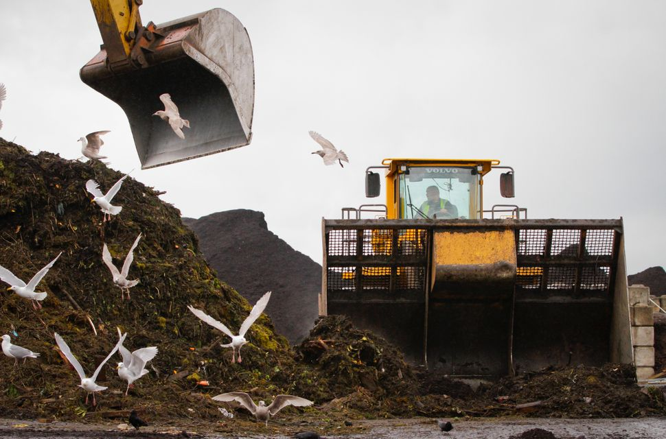 A dozer continuously crawls over the organic waste in order to speed up the decomposition process at the organic waste recycl