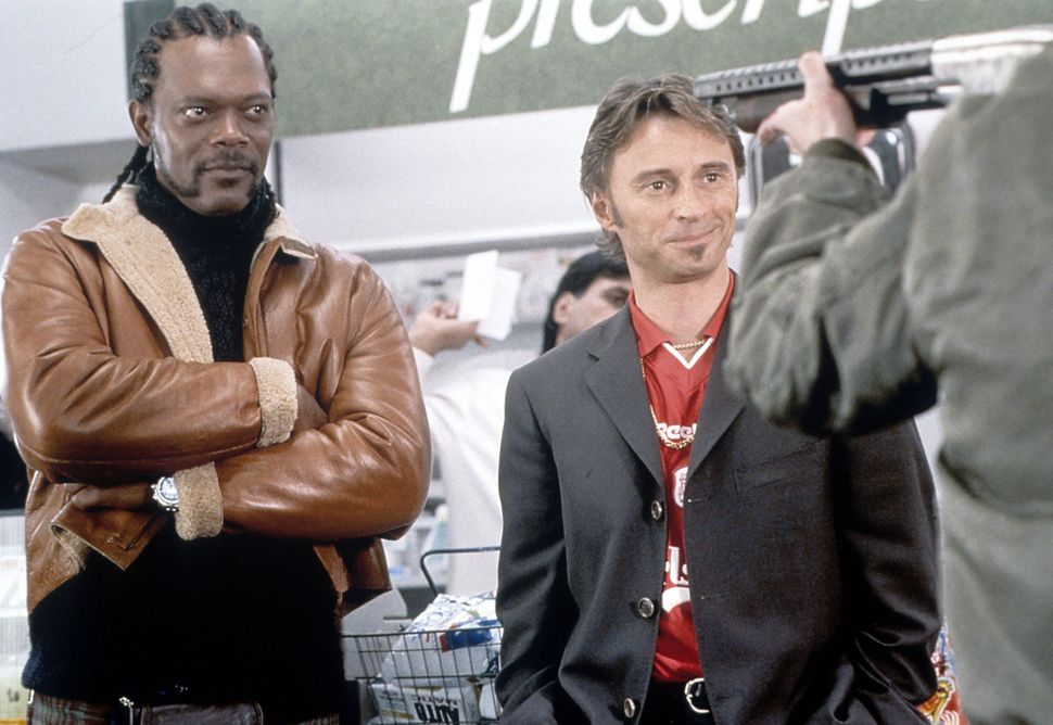 "Samuel L. Jackson and Robert Carlyle in ""Formula 51."""