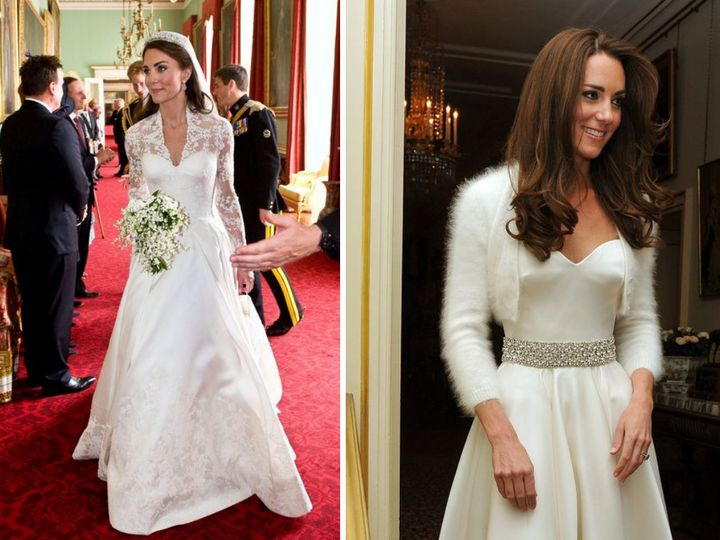 The Duchess of Cambridge's two wedding looks.