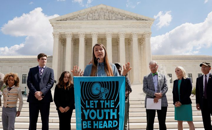 Kelsey Juliana, a lead plaintiff in the climate lawsuit against the federal government, speaks outside the Supreme Court in S