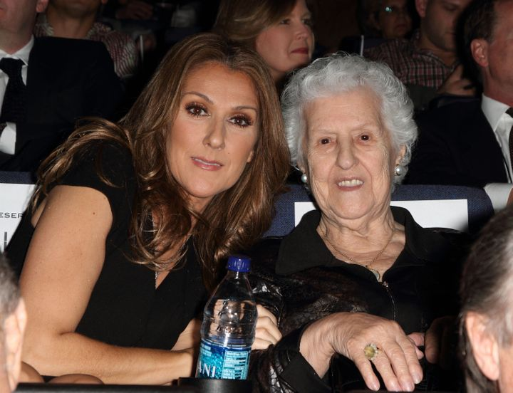 Celine Dion and Therese Tanguay Dion attend the premiere of Celine: Through The Eyes of The World presented by Piaget at Regal South Beach Cinema on Feb. 16, 2010 in Miami Beach, Florida.