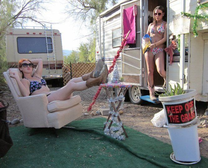 At the trailer park with my friend Maggie, who worked as a wrangler at the stables in Death Valley.