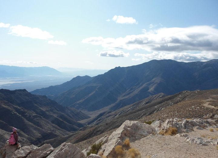 At Aguereberry Point in the Panamint Range, looking down at Death Valley from 6,433 feet.