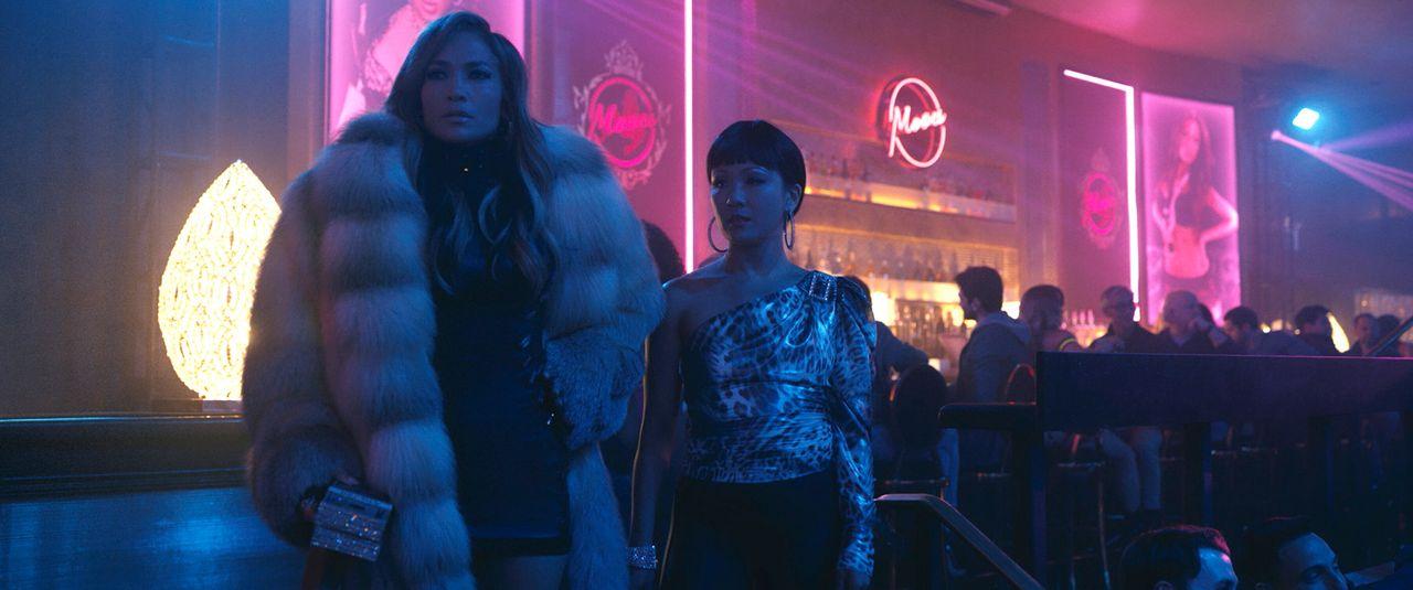 "Jennifer Lopez and Constance Wu in ""Hustlers."""