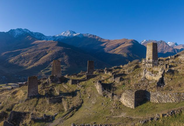 Mountain landscape and medieval architecture of North Ossetia. Shot on a