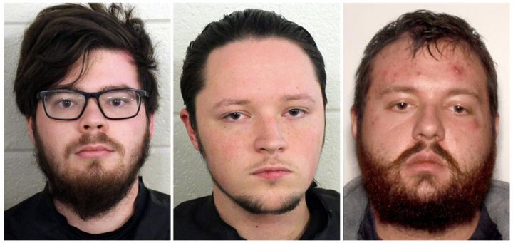 Left to right: Luke Austin Lane, Jacob Kaderli and Michael Helterbrand are all suspected neo-Nazis who allegedly planned to t