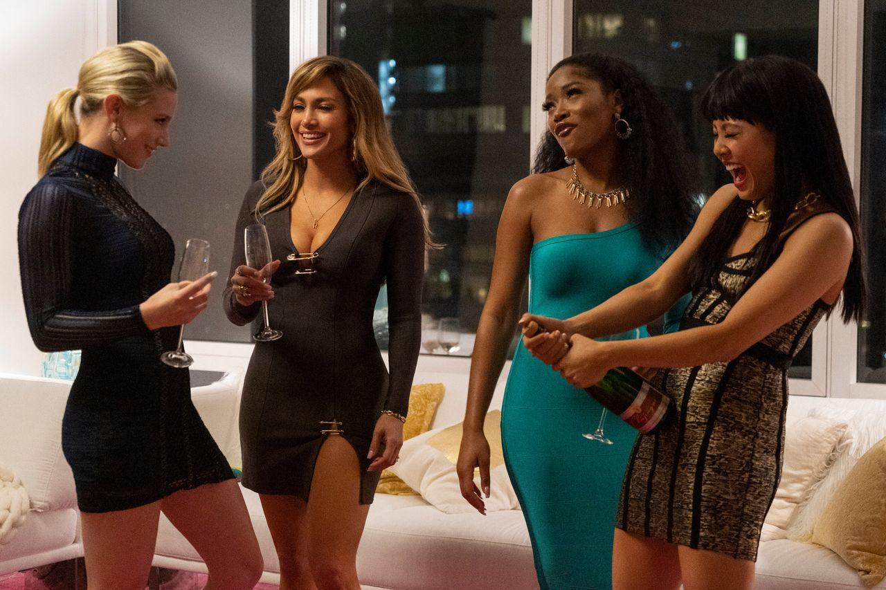 "Lili Reinhart, Jennifer Lopez, Keke Palmer and Constance Wu in ""Hustlers."""