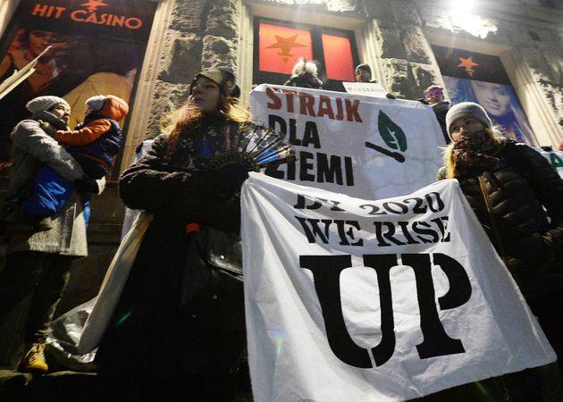 1월 17일 폴란드에서 열린 '기후변화를 위한 금요 파업 시위'