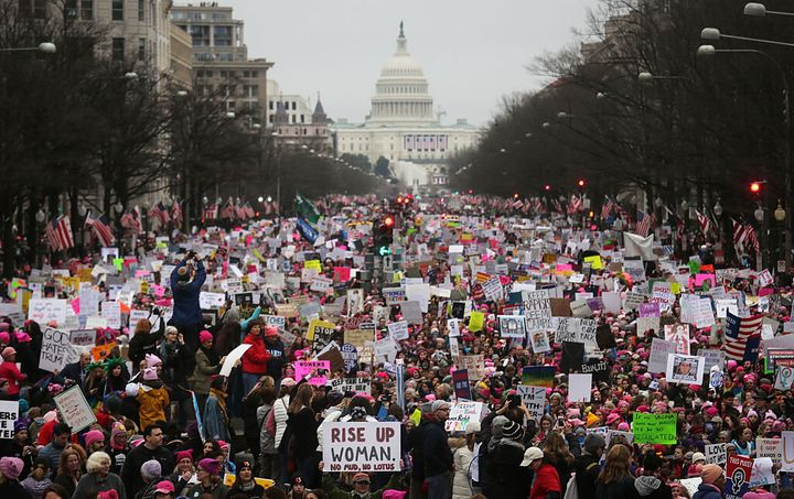 An altered version of this photo of the 2017 Women's March is on display at the National Archives.