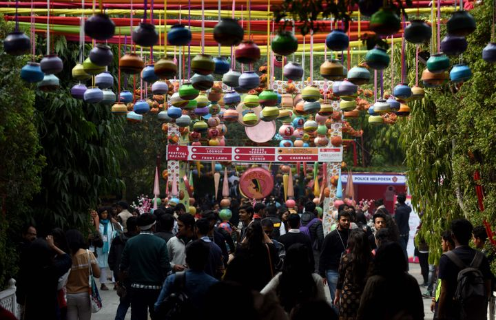 JAIPUR, INDIA - JANUARY 24: Visitors at ZEE Jaipur Literature Festival 2019, at Diggi Palace on January 24, 2019 in Jaipur, India. (Photo by Amal KS/Hindustan Times via Getty Images)