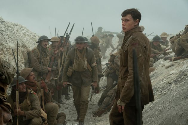 Schofield (George MacKay, foreground) with fellow soldiers in 1917, the new epic from Oscar®-winning...