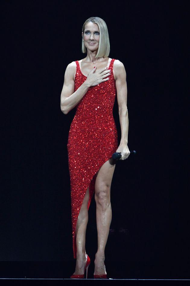 Céline Dion pendant le «Courage World Tour» à l'American Airlines Arena, le...