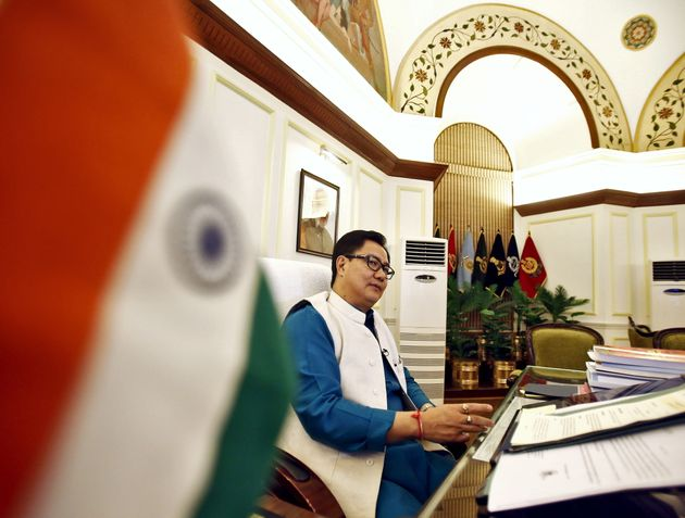 India's junior home minister Kiren Rijiju speaks during an interview with Reuters inside his office in...