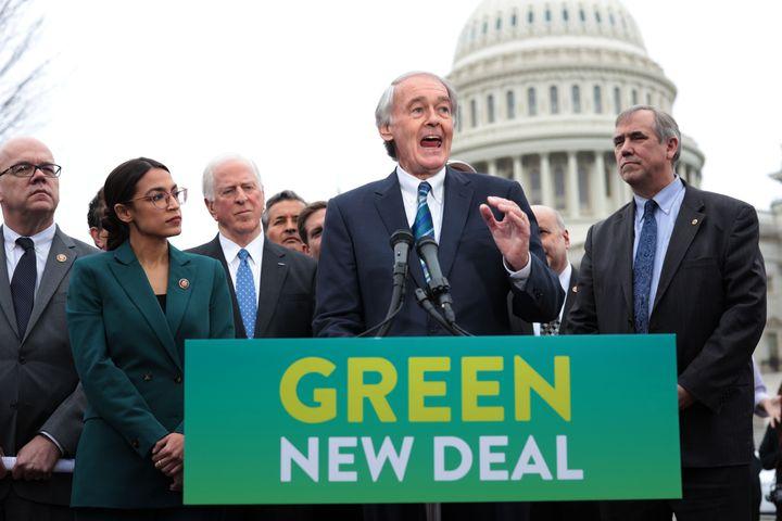 Sen. Ed Markey (D-Mass.) unveils the Green New Deal resolution alongside Rep. Alexandria Ocasio-Cortez (D-N.Y.) in Feb. 2019.