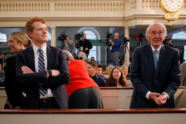 Kennedy and Markey attend a speech by Sen. Elizabeth Warren (D-Mass.) in Boston on Dec. 31. Both men have endorsed her White