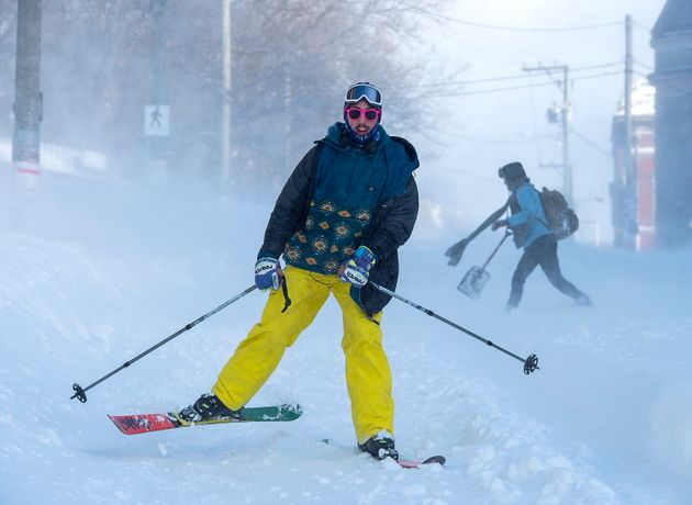 A intrepid skier takes to the streets in St. John's on Jan. 18,