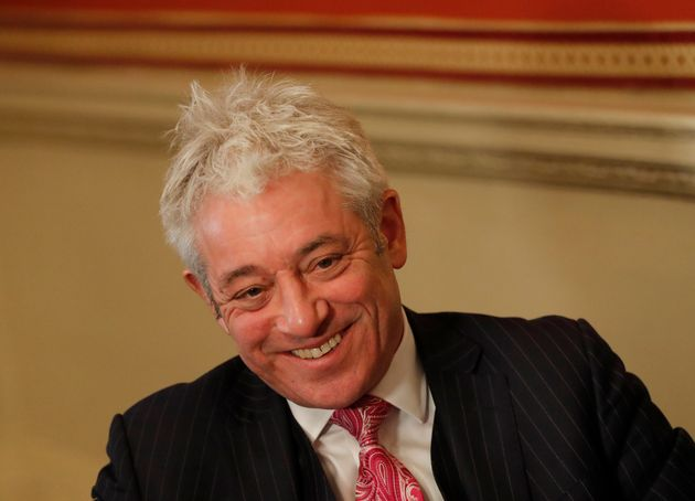 Former British House of Commons speaker, John Bercow, speaks during an interview with Associated Press...