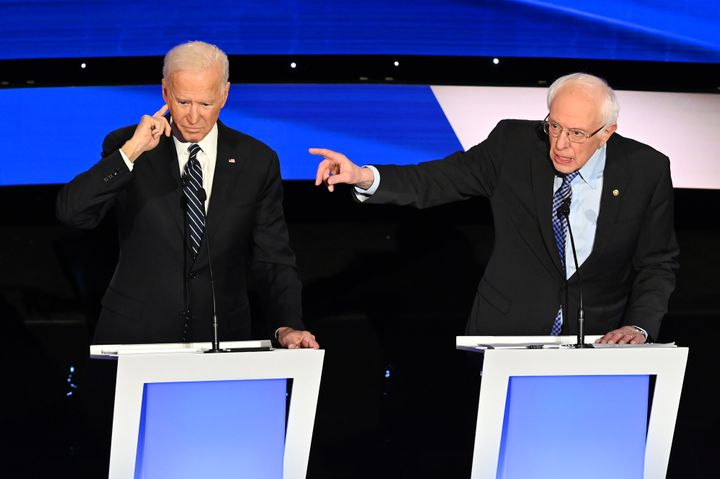 Vermont Sen. Bernie Sanders, right, did not get a chance to litigate his criticism of former Vice President Joe Biden's Socia