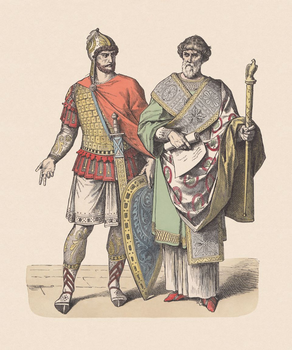 Byzantine soldier and chancellor. Hand colored wood engraving, published c.