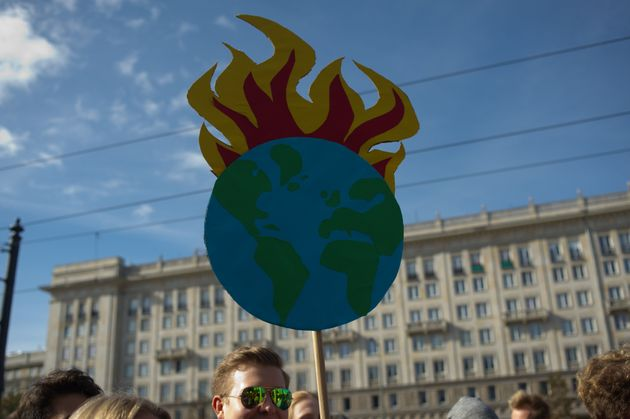 Une pancarte brandie lors d'une manifestation contre le réchauffement