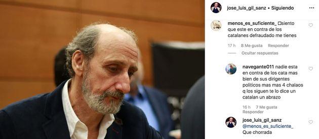 Comentario en la cuenta de Instagram de José Luis Gil y respuesta del