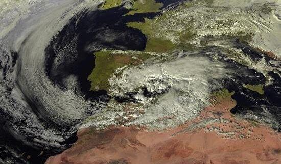 Imagen vía satélite de la borrasca Gloria sobre la Península