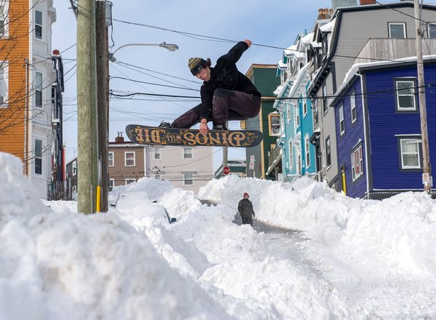 A snowboarder takes advantage of prime conditions in St. John's on