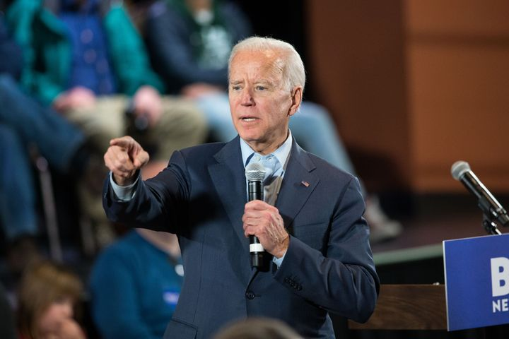 Former Vice President Joe Biden takes questions at a Dec. 30 campaign town hall in Derry, New Hampshire. Biden favors a publi