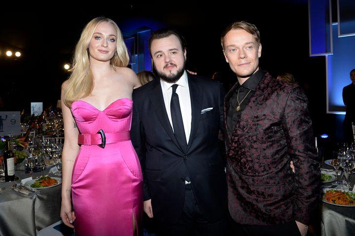 Sophie Turner, John Bradley, center, and Alfie Allen at the Screen ActorsGuild Awards.