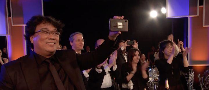 """""""Parasite"""" director Bong Joon-ho at the SAG Awards Sunday night."""