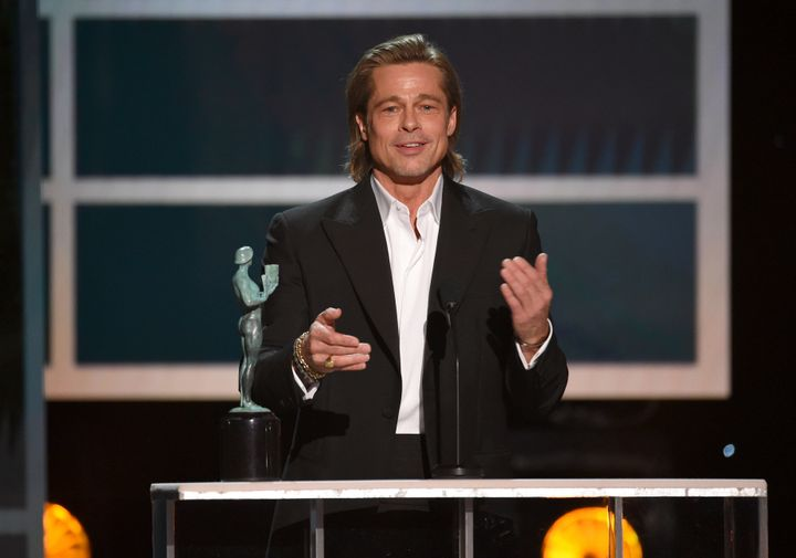 Brad Pitt accepts an award at the 26th annual Screen Actors Guild Awards over the weekend.