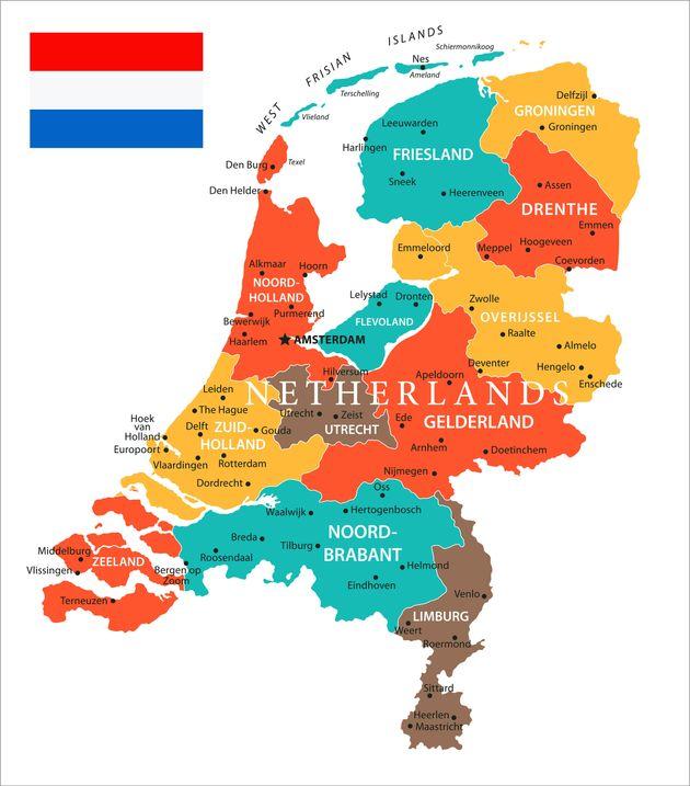 オランダの地図。中央部にある「北ホラント州」と「南ホラント州」がホラント地方。