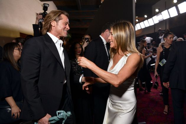 Brad Pitt and Jennifer Aniston greet each other at the Screen Actors Guild Awards on
