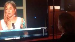Brad Pitt Stops To Watch Jennifer Aniston's SAG Awards Speech Backstage: 'Oh,