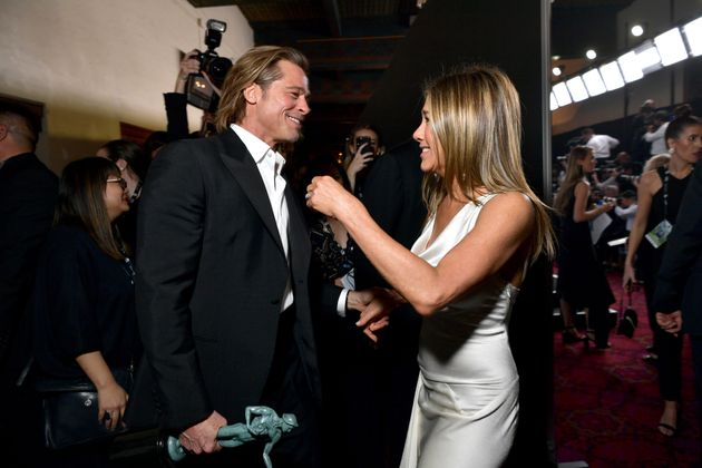 Brad Pitt and Jennifer Aniston backstage at the 26th Annual Screen Actors Guild