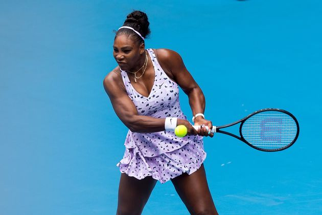 Serena Williams of USA plays a forehand during round one of the Australian Open Tennis at Melbourne Park...