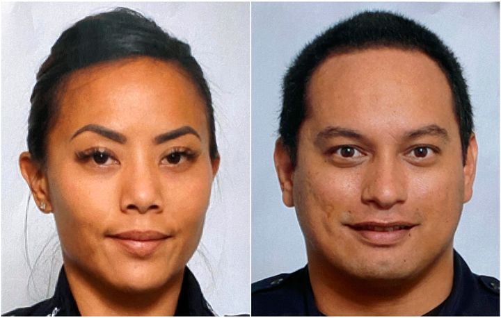 This undated photo provided by the Honolulu Police Department shows Officers Tiffany Enriquez, left, and Kaulike Kalama. Enri