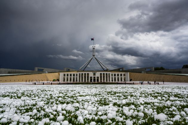 Golf ball-sized hail is shown at Parliament House on January 20, 2020 in Canberra,