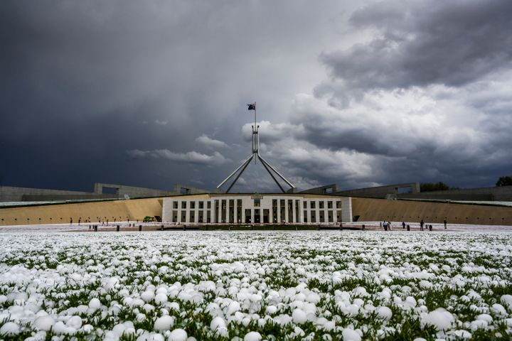 Golf ball-sized hail is shown at Parliament House on January 20, 2020 in Canberra, Australia.