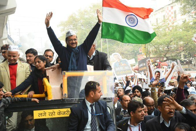 Chief Minister Arvind Kejriwal during the roadshow.