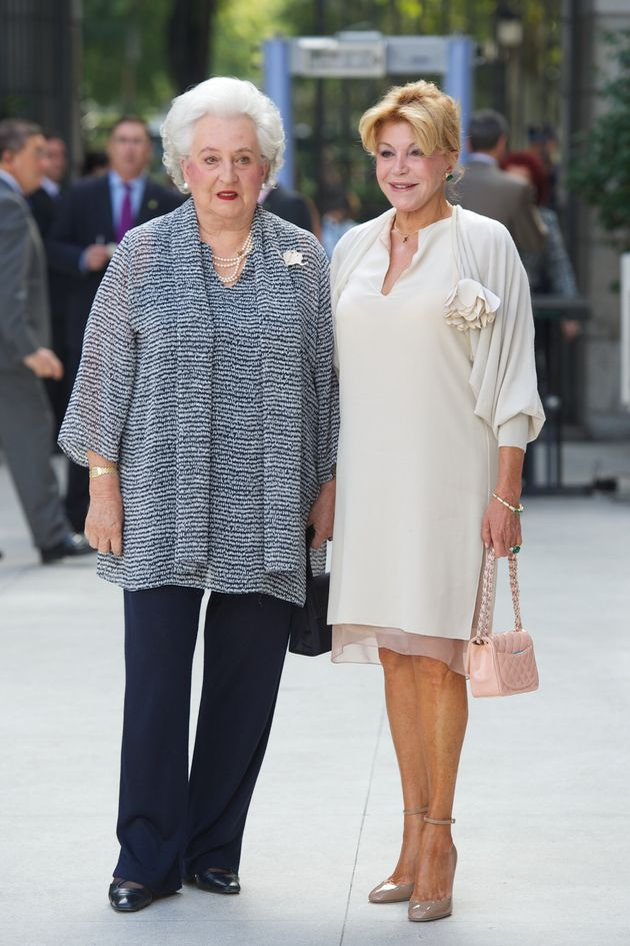 MADRID, SPAIN - OCTOBER 08: Princess Pilar de Borbon (L) and Baroness Carmen Thyssen-Bornemisza (R) attend...