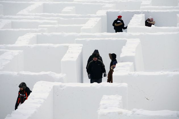 People find their way around Manitoba's Guinness World Record holding Snow Maze just south of Winnipeg...
