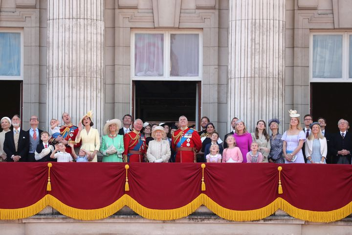 Queen Elizabeth and many members of her extended family watch the Trooping the Colour celebrations on the balcony of Buckingham Palace on June 8, 2019. The Queen has long had an inclusive view of who gets included in the Royal Family.