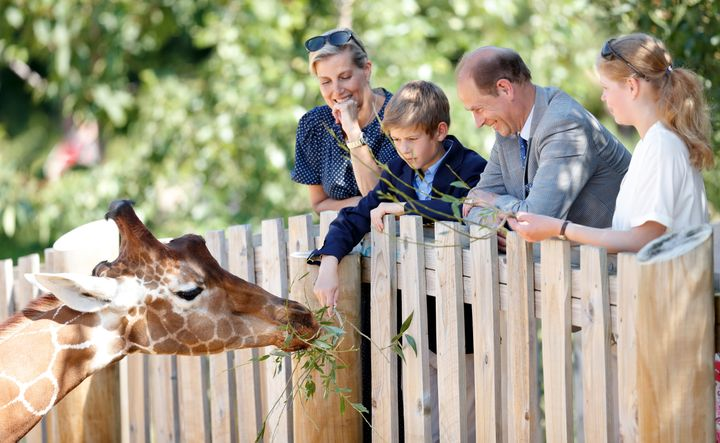The Queen's youngest son Edward, Earl of Wessex and his wife Sophie, Countess of Wessex with their children at Bristol Zoo. Their kids were entitled to prince and princess titles, but instead are known as Lady Louise and James the Viscount Severn.