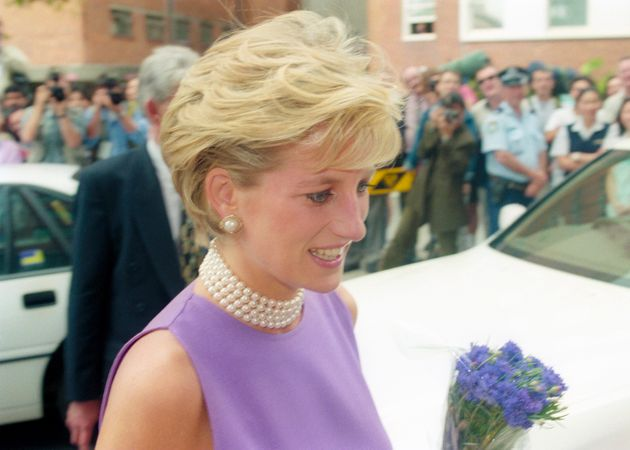Princess Diana at St. Vincent's Hospital during a visit to Sydney, Australia in November 1996, several months after her divorce from Prince Charles. She was still the Princess of Wales, but no longer had HRH status.