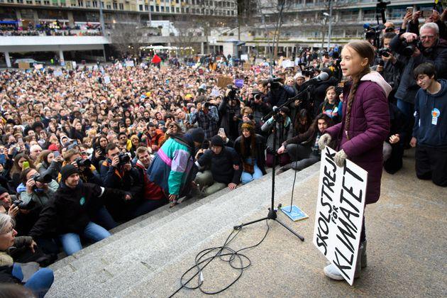 Greta Thunberg lors d'une manifestation à Lausanne, à quelques jours de sa participation...