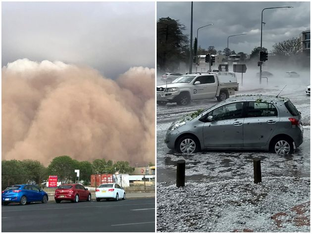 オーストラリアを襲った砂嵐と巨大なひょう