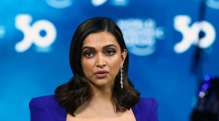"Indian actor Deepika Padukone accepts the ""Crystal Award"" during the opening of the 50th World Economic Forum (WEF) in Davos, Switzerland January 20, 2020."